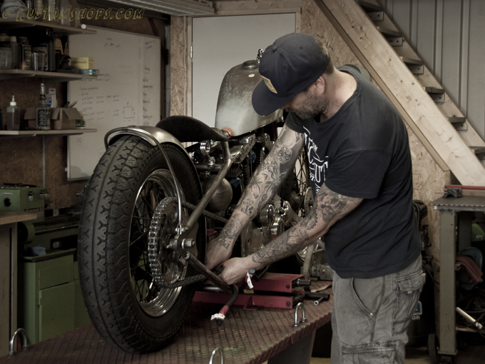 Lucky Nuts Motorcycles Mike working